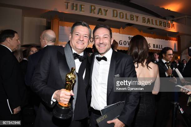 Netflix Chief Content Officer Ted Sarandos and director Bryan Fogel winner of the Best Documentary Feature award for 'Icarus' attend the 90th Annual...