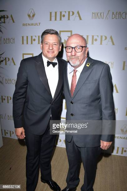Netflix Chief Content Officer Ted Sarandos and HFPA President Lorenzo Soria attends the Hollywood Foreign Press Association's 2017 Cannes Film...