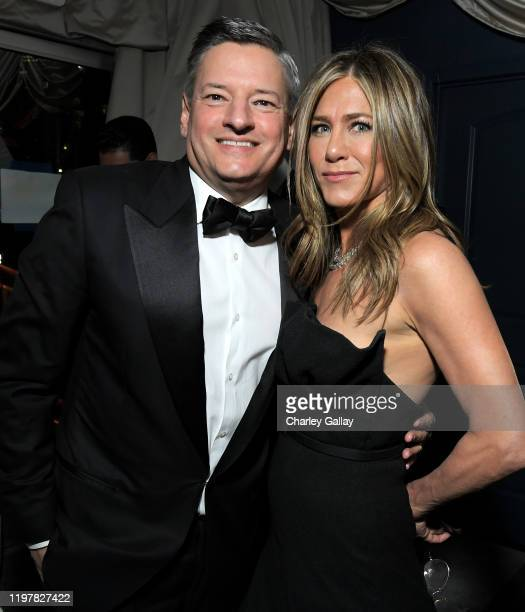 Netflix Chief Content Officer Ted Sarandos and Jennifer Aniston attend the Netflix 2020 Golden Globes After Party on January 05 2020 in Los Angeles...