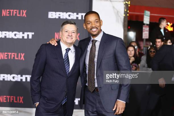 Netflix Chief Content Officer Ted Sarandos and Will Smith attend the LA Premiere of Netflix Films 'BRIGHT' on December 13 2017 in Los Angeles...