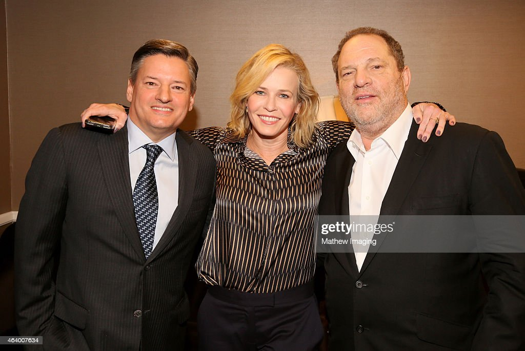 Netflix, Chief Content Officer Ted Sarandos, comedian Chelsea Handler, and Harvey Weinstein pose backstage at the 52nd Annual ICG Publicists Awards at The Beverly Hilton Hotel on February 20, 2015 in Beverly Hills, California.