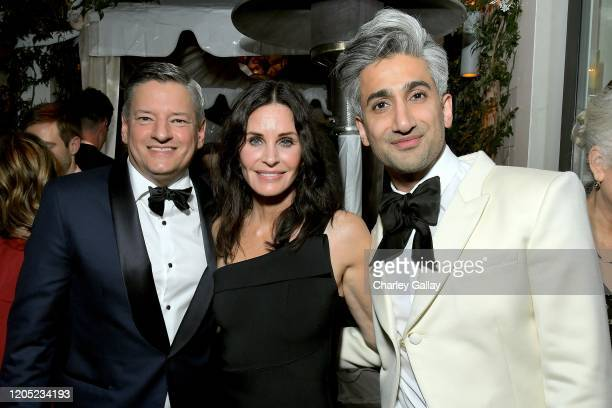 Netflix Chief Content Officer Ted Sarandos Courteney Cox and Tan France attend the 2020 Netflix Oscar After Party at San Vicente Bugalows on February...