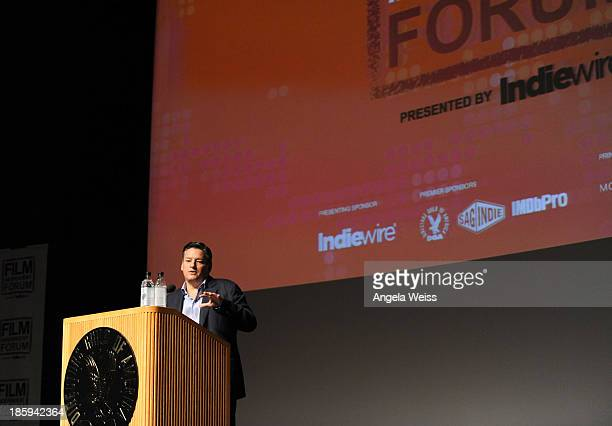 Netflix Chief Content Officer Ted Sarandos gives the keynote address at the Film Independent Forum at the DGA Theater on October 26 2013 in Los...