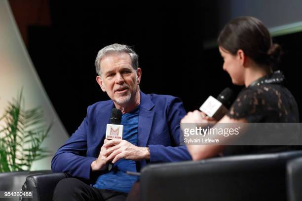 Netflix Cofounder Chairman CEO Reed Hastings attends QA during Transatlantic Forum as part of Series Mania Lille Hauts de France festival on May 3...