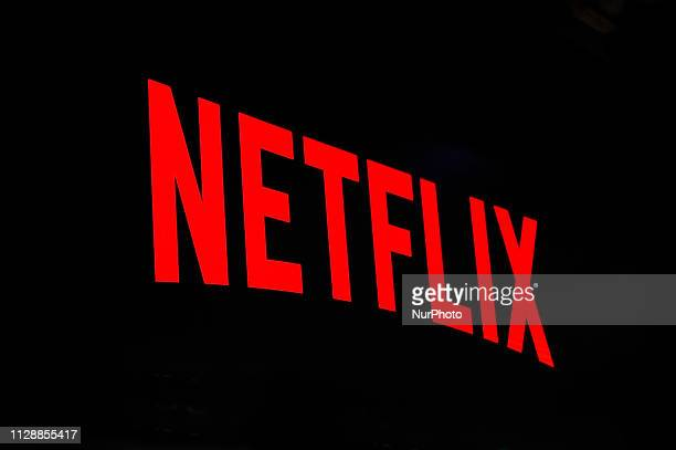 Netflix logo exhibited during the Mobile World Congress on February 28 2019 in Barcelona Spain