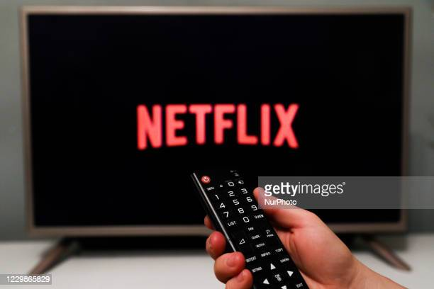 Netflix logo is seen displayed on a tv screen in this illustration photo taken in Poland on November 29, 2020.