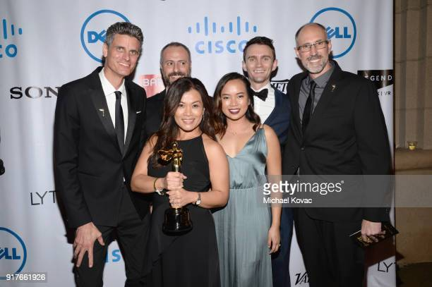 Netflix team poses with 2018 Lumiere Award at the Advanced Imaging Society 2018 Lumiere Awards presented by Dell and Cisco at Steven J Ross Theatre...
