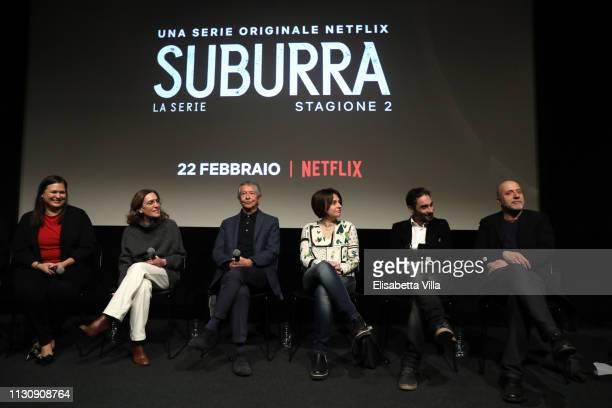 Netflix Vice President International Originals Kelly Luegenbiehl Gina Gardini Riccardo Tozzi Barbara Petronio Piero Messina and Andrea Molaioli...