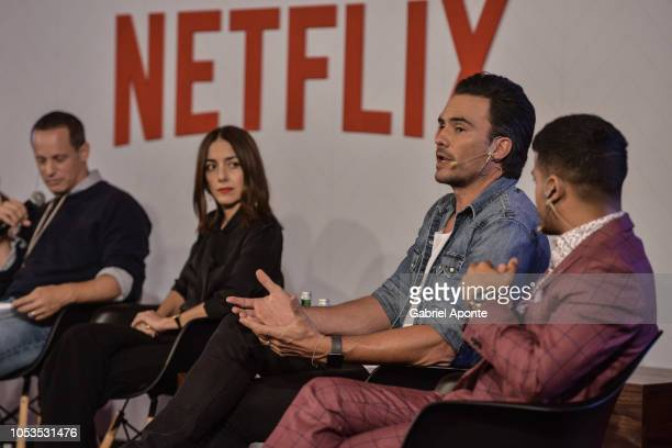 Netflix VP of Local Originals Erik Barmack Cecilia Suarez Juan Pablo Raba and Christian Navarro look on during Netflix Slate Event 2018 at JW Marriot...