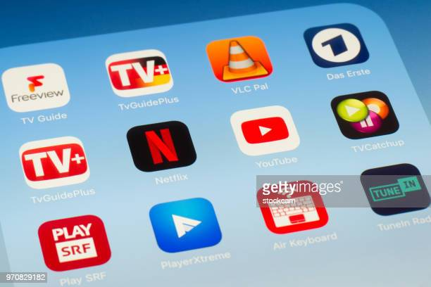 Netflix, YouTube and other video streaming Apps on iPad screen