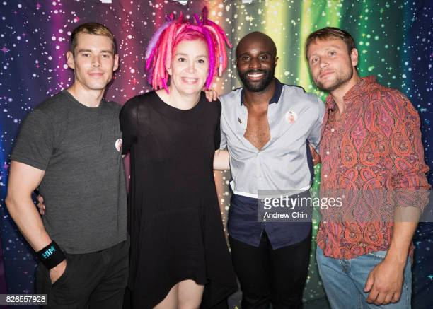 Netflix's Sense8 cast Brian J Smith Lana Wachowski Toby Onwumere Max Riemelt attend Davie Street Block Party on August 4 2017 in Vancouver Canada