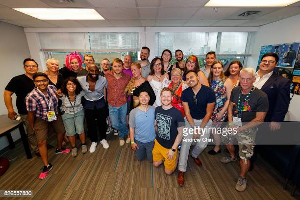 Netflix's Sense8 cast Lana Wachowski Brian J Smith Toby Onwumere and Max Riemelt pose with fans during their meet and greet before Davie Street Block...
