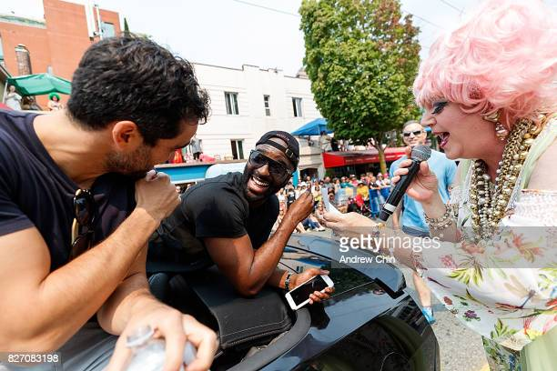 Netflix's Sense8 cast members Alfonso Herrera and Toby Onwumere attend Vancouver Pride Parade on August 6 2017 in Vancouver Canada