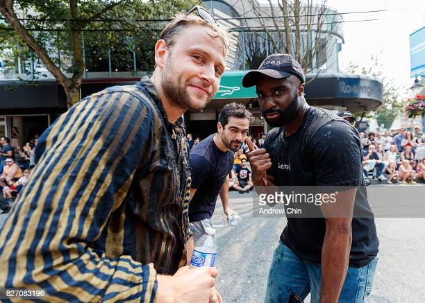 Netflix's Sense8 cast members Max Riemelt Alfonso Herrera and Toby Onwumere attend Vancouver Pride Parade on August 6 2017 in Vancouver Canada