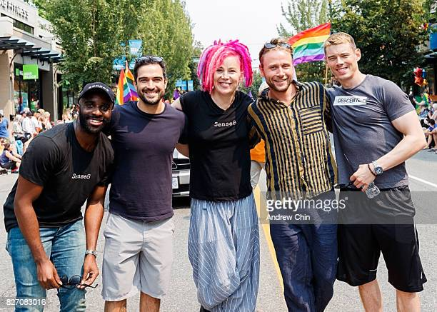 Netflix's Sense8 cast members Toby Onwumere Alfonso Herrera Lana Wachowski Max Riemelt and Brian J Smith attend Vancouver Pride Parade on August 6...
