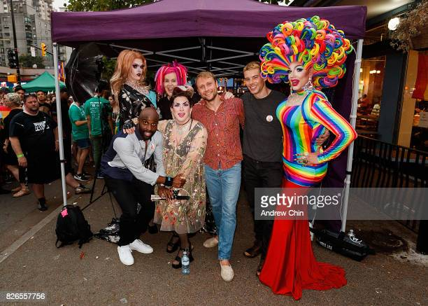 Netflix's Sense8 cast Toby Onwumere Lana Wachowski Max Riemelt and Brian J Smith attend Davie Street Block Party on August 4 2017 in Vancouver Canada