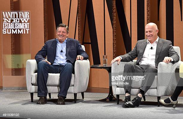 Netflix's Ted Sarandos and CAA's Bryan Lourd speak onstage during Which Way LA The New Business of Hollywood at the Vanity Fair New Establishment...