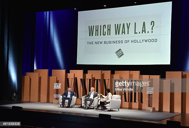 Netflix's Ted Sarandos CAA's Bryan Lourd and Ariel Investments' Mellody Hobson speak onstage during Which Way LA The New Business of Hollywood at the...