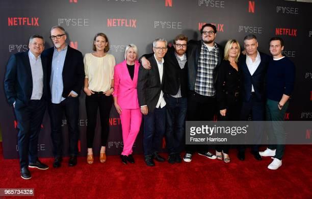 Netflix's Ted Sarandos Exec Producer/Director David Fincher Anna Torv Jennifer Starzyk Steve Arnold Erik Messerschmidt Cameron Britton Laray Mayfield...
