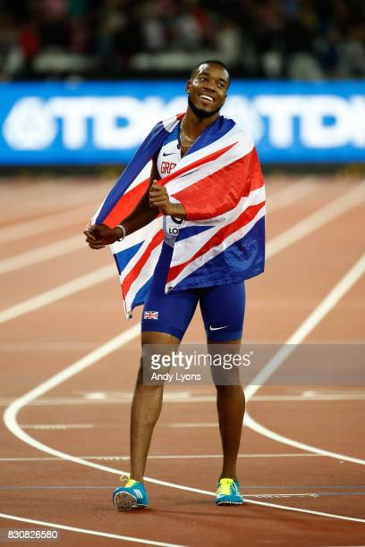 Nethaneel MitchellBlake of Great Britain celebrates winning gold in the Men's 4x100 Relay final during day nine of the 16th IAAF World Athletics...