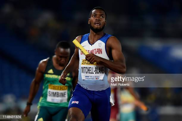 Nethaneel MitchellBlake of Great Britain competes during round 1 of the Men's 4x100m Relay on day one of the IAAF World Relays at Nissan Stadium on...