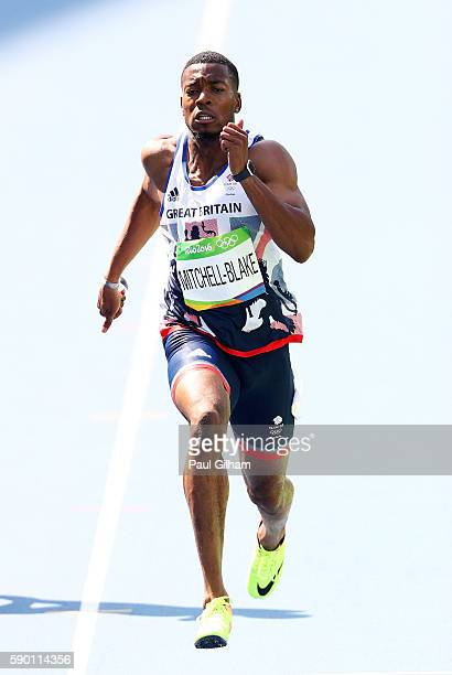 Nethaneel MitchellBlake of Great Britain competes during the Men's 200m Round 1 Heat 10 on Day 11 of the Rio 2016 Olympic Games at the Olympic...