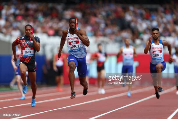 Nethaneel MitchellBlake of Great Britain crosses the finish line in first place in the 4x100m Men's Relay during Day Two of the Muller Anniversary...