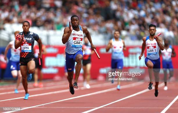 Nethaneel Mitchell-Blake of Great Britain competes on his way to winning the 4x100m Men's Relay during Day Two of the Muller Anniversary Games at...