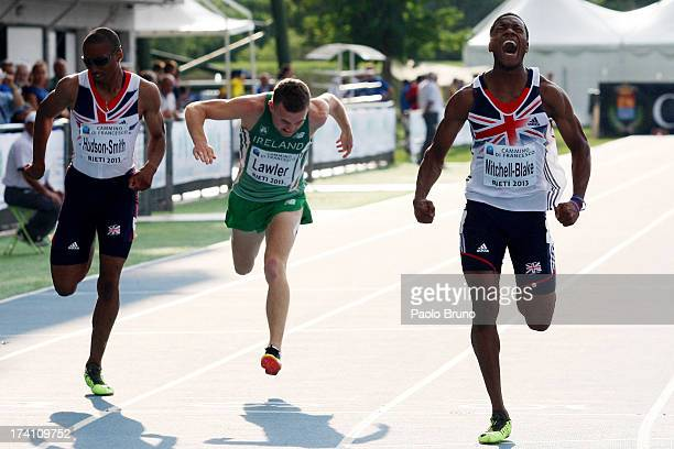 Nethaneel MitchellBlake of Great Britain wins the gold medal in the Men 200 m during the European Athletics Junior Championships 2013 on July 20 2013...