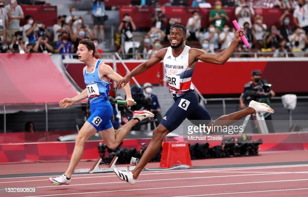 Nethaneel Mitchell-Blake of Team Great Britain reacts as he crosses the finish line in the Men's 4 x 100m Relay Final on day fourteen of the Tokyo...