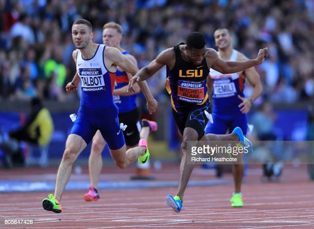 Nethaneel MitchellBlake wins the men's 200m final during the British Athletics World Championships Team Trials at Birmingham Alexander Stadium on...