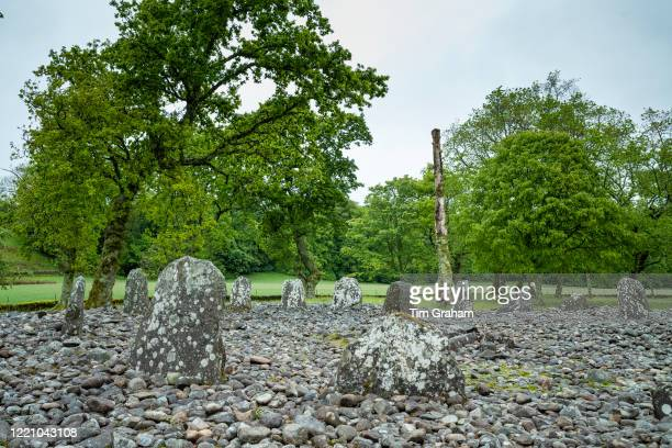 """Nether Largie standing stones and circle burial monument from the Bronze Age at Kilmartin Glen, Argyll, Scotland""""n."""