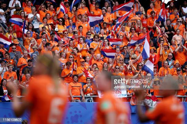 Netherland fans show their support during the 2019 FIFA Women's World Cup France group E match between Netherlands and Cameroon at Stade du Hainaut...
