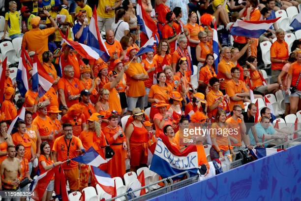 Netherland fans show their support prior to the 2019 FIFA Women's World Cup France Semi Final match between Netherlands and Sweden at Stade de Lyon...