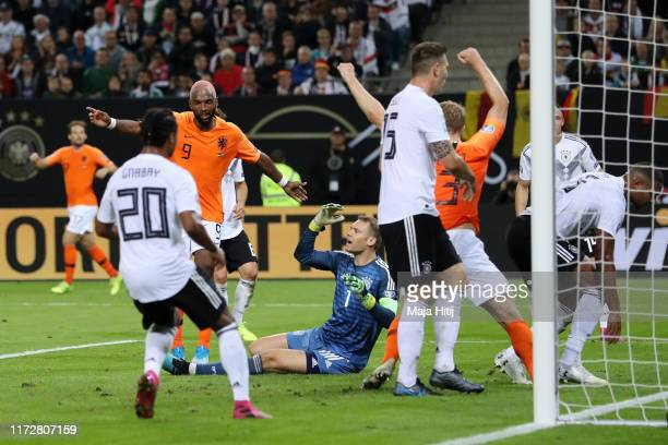 Netherland players celebrate after Jonathan Tah of Germany scores an own goal the Netherlands second goal during the UEFA Euro 2020 qualifier match...
