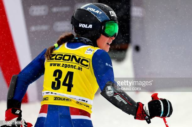 Netherland's Adriana Jelinkova reacts in the finish area during the second run run of the women's giant slalom event during the FIS Alpine Ski World...