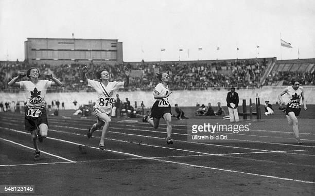 Netherlands Amsterdam 1928 Summer Olympics 100m women's final Elizabeth Robinson finishing first ahead of Fanny Rosenfeld and Ethel Smith German Erna...