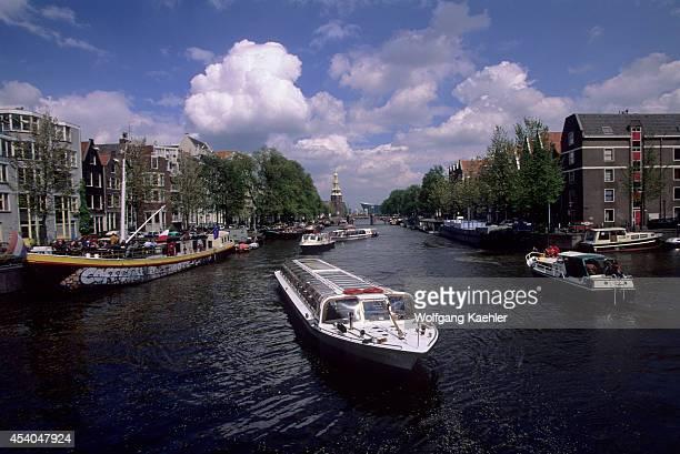 Netherlands Amsterdam Oude Schans Gracht Sightseeing Boat