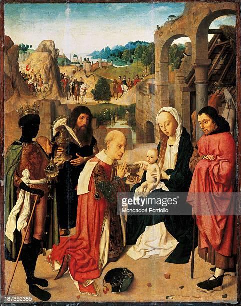 Netherlands Amsterdam Rijksmuseum All Magi bring ciboria as presents to Child Jesus Beside Jesus Saint Joseph and the Virgin Mary Gold green black...