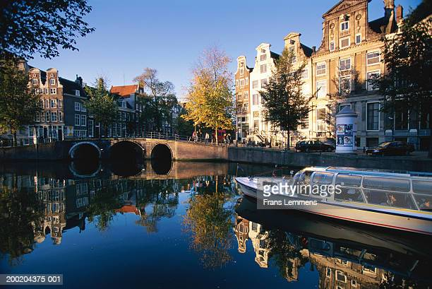 Netherlands, Amsterdam, tour boat on Herengracht