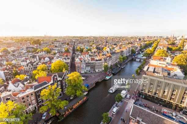 Netherlands, Amsterdam, view to the old town with Prinsengracht from above