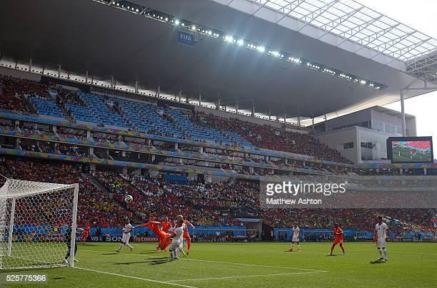 Netherlands and Chile in action the Arena Corinthians Estadio Itaquerao stadium Arena de Sao Paulo stadium host venue of the FIFA 2014 World Cup and...