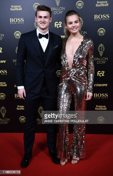 Netherlands and Juventus defender Matthijs de Ligt and his girlfriend Annekee Molenaar arrive to attend the Ballon d'Or France Football 2019 ceremony...
