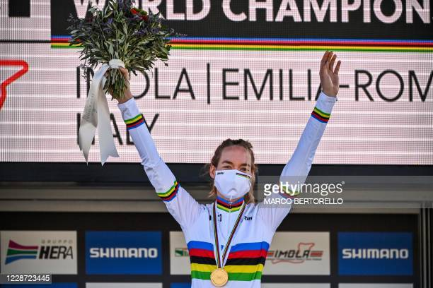 Netherlands' Anna van der Breggen celebrates on the podium after winning the Women's Elite Road Race, a 143-kilometer route around Imola,...