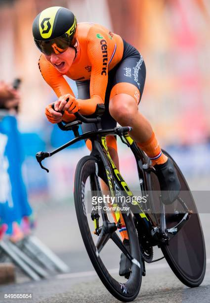Netherland's Anna Van Der Breggen competes during the women elite individual time trial at the UCI Cycling Road World Championships on September 19...