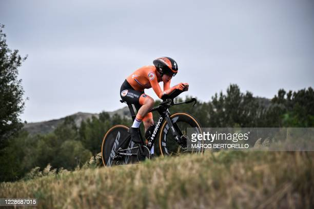 Netherlands' Anna van der Breggen competes in the Women's Elite Individual Time Trial at the UCI 2020 Road World Championships in Imola,...
