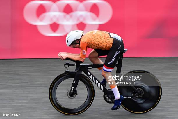 Netherlands' Annemiek Van Vleuten competes in the women's cycling road individual time trial during the Tokyo 2020 Olympic Games at the Fuji...