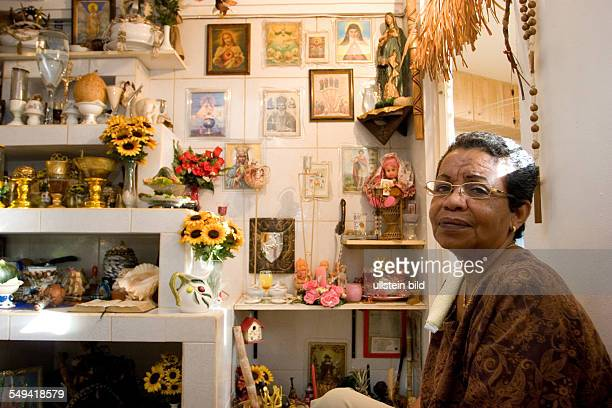 ANT Netherlands Antills Curacao Willemstad A Vodun priestress in her altar room