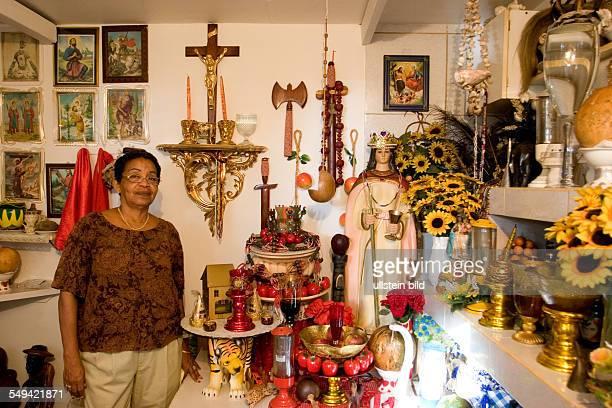 ANT Netherlands Antills Curacao Willemstad A Voodoo priestress in her Altarroom Shango area