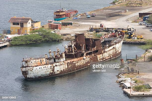 ANT Netherlands Antills Curacao Willemstad Port with wreck shipyard